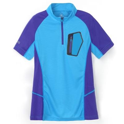 【ATUNAS 歐都納】女款吸濕排汗抗UV短袖立領T恤 A1-T1512W 天藍