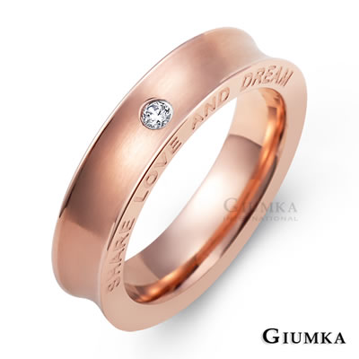 GIUMKA 愛的夢想 白鋼戒指-玫瑰金