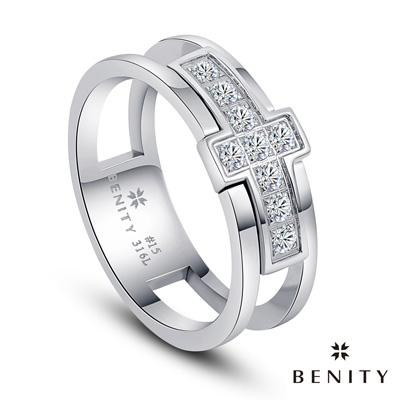 BENITY 十字星願 十字架設計 美鑽 白鋼 情侶對戒款 男戒