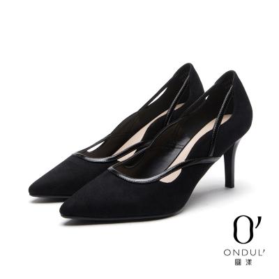 達芙妮x高圓圓-圓漾系列-高跟鞋-黑白拼接曲線細帶高跟尖頭鞋-黑