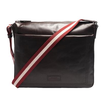BALLY TELLER MD經典雙色織帶小牛皮拉鍊雙層斜背郵差包(中-咖啡)
