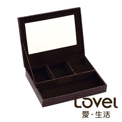 LOVEL 經典鱷魚紋皮革收納-防塵掀蓋4格置物盒(魅力咖/附鏡)