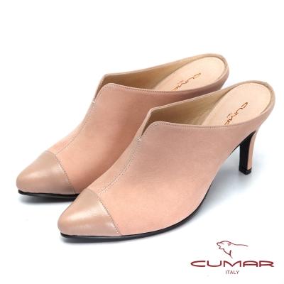 CUMAR台灣製造-真皮舒適後空高跟鞋-粉紅