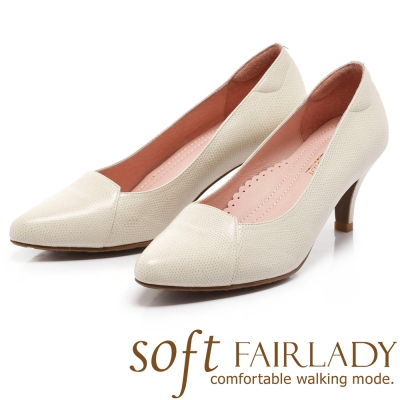 Fair Lady Soft 芯太軟 典雅派拼革尖頭高跟鞋 白