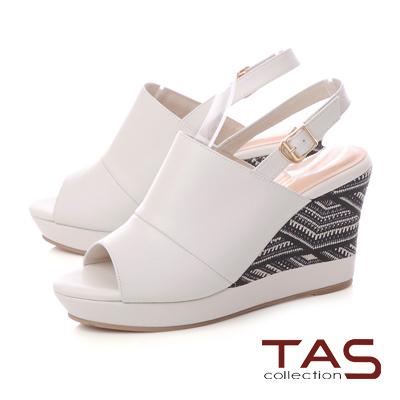 TAS 寬版縫線厚底刺繡楔型涼鞋-簡約白