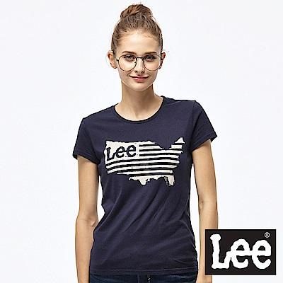 Lee 美國地圖LOGO短袖圓領TEE-女款-藍
