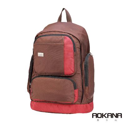 AOKANA奧卡納 輕量防潑水護脊電腦商務後背包(熱情紅)68-090