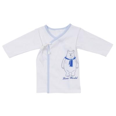 愛的世界 北極熊純棉長袖綁帶肚衣-藍/3~6個月
