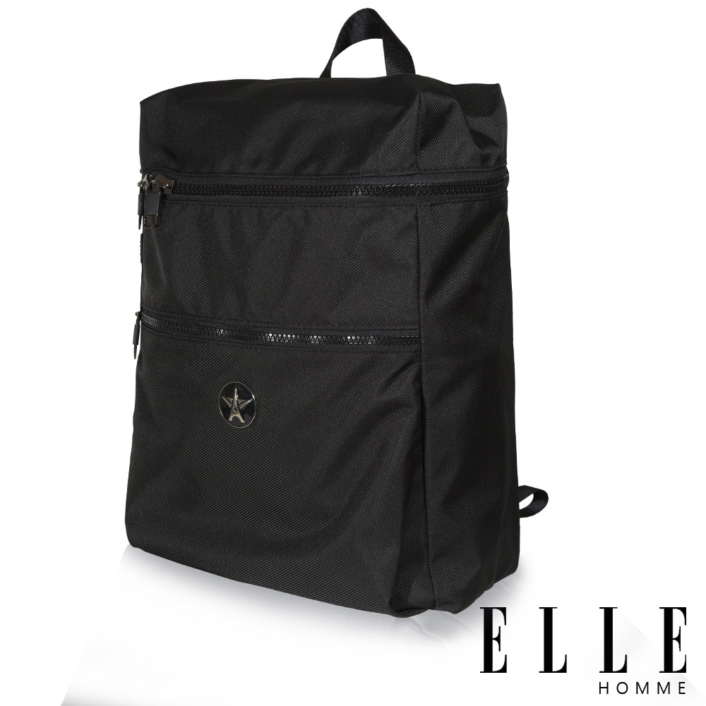ELLE HOMME-巴黎風輕旅商務大容量機能後背包-黑