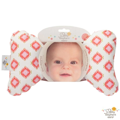 Baby Elephant Ears 白底鋸齒菱格款推車汽座護頸蝴蝶枕