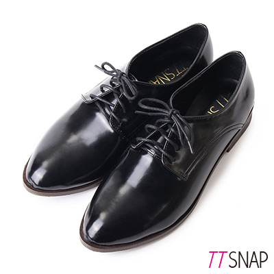 TTSNAP牛津鞋MIT尖頭漆皮綁帶紳士鞋 黑