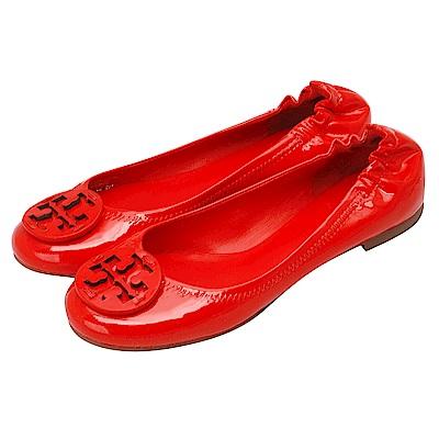 TORY BURCH 立體簍空LOGO漆皮平底娃娃鞋(紅色)