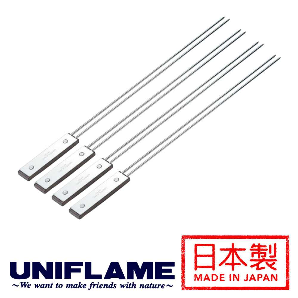 【日本 UNIFLAME】木柄不銹鋼燒烤雙叉4入/ 約40cm 665695