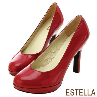 ESTELLA-台灣純手工-全真皮時尚厚底高跟鞋-漆紅