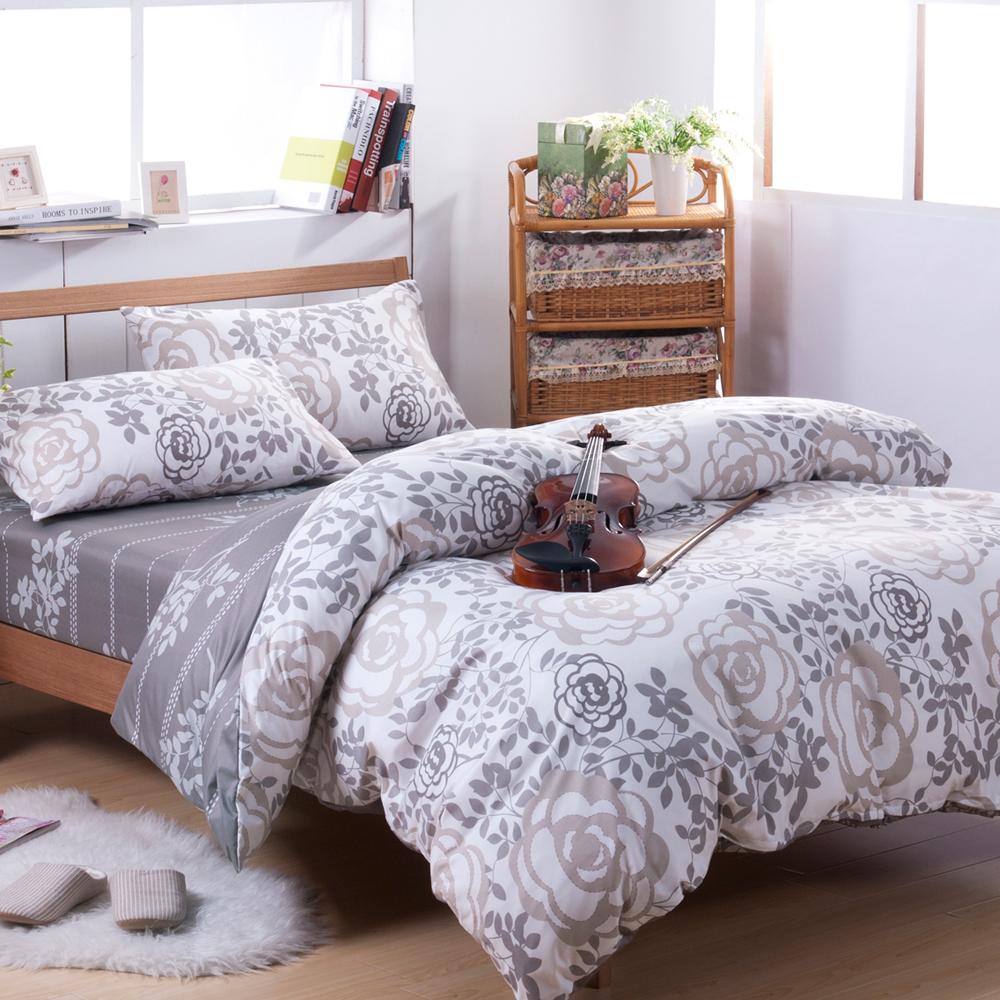 喬曼帝Jumendi-玫瑰序曲 台灣製活性柔絲絨雙人四件式被套床包組