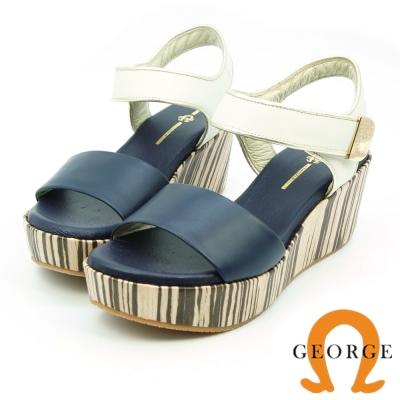 GEORGE 喬治-真皮寬帶厚底木紋涼鞋(女)-深藍