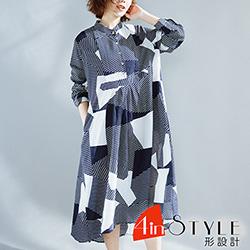 不規則撞色拼接寬鬆大擺洋裝 (藏青色)-4inSTYLE形設計