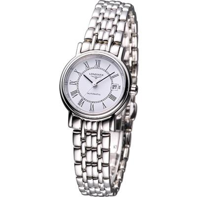 LONGINES Presence 優雅機械腕錶-白x羅馬時標/25.5mm