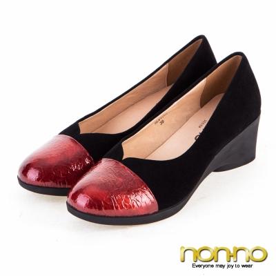 noono-都會性感-漆皮拼接楔型鞋-紅
