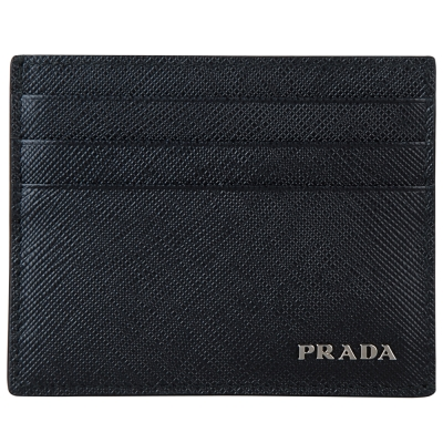 PRADA-銀字防刮牛皮雙色卡片夾-黑-灰