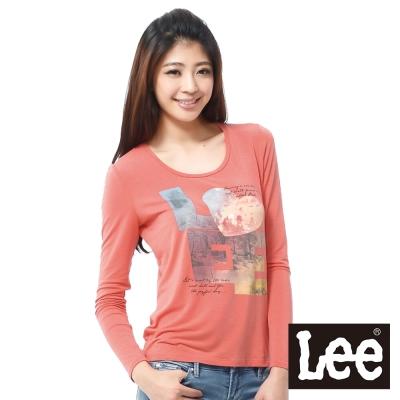 Lee 長袖T恤 黃昏意境城市圖案-女款(橘)