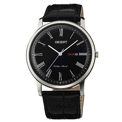 ORIENT 經典東方羅馬數字時標石英腕錶(FUG1R008B6)-黑/40mm