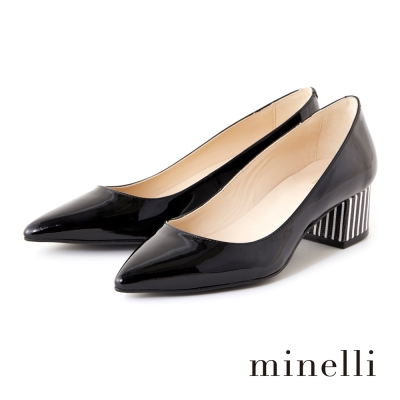 Minelli-牛漆皮條紋粗低跟鞋-漆皮黑