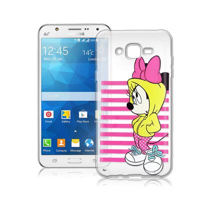 迪士尼Samsung Galaxy J7 J700街頭透明軟式手機殼(帽T米妮)