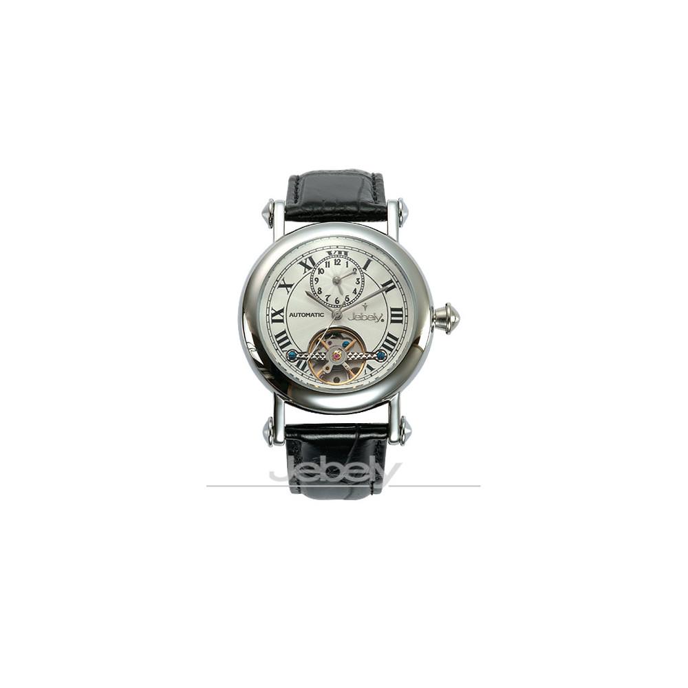 瑞士Jebely 經典鏤空擺輪機械錶(優雅白)
