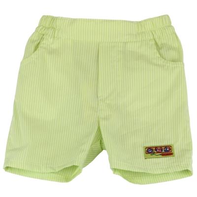 愛的世界 MYBABY 賽艇純棉直條紋五分褲-綠/<b>1</b>~4歲