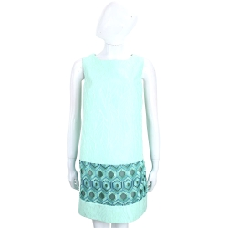 Maria Grazia Severi 薄荷綠浮雕拼接幾何圖形無袖洋裝