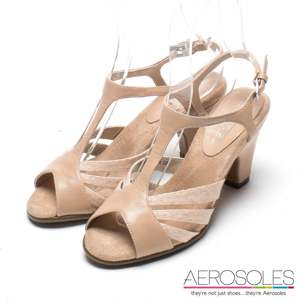 AEROSOLES 法式優雅原色系鏤空條帶露趾粗跟涼鞋~氣質裸