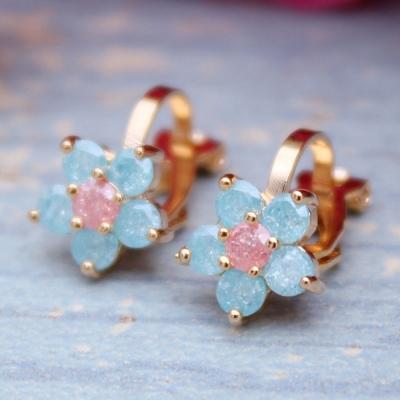 梨花HaNA-無耳洞韓國鍍真金粉嫩小藍花夾式耳環
