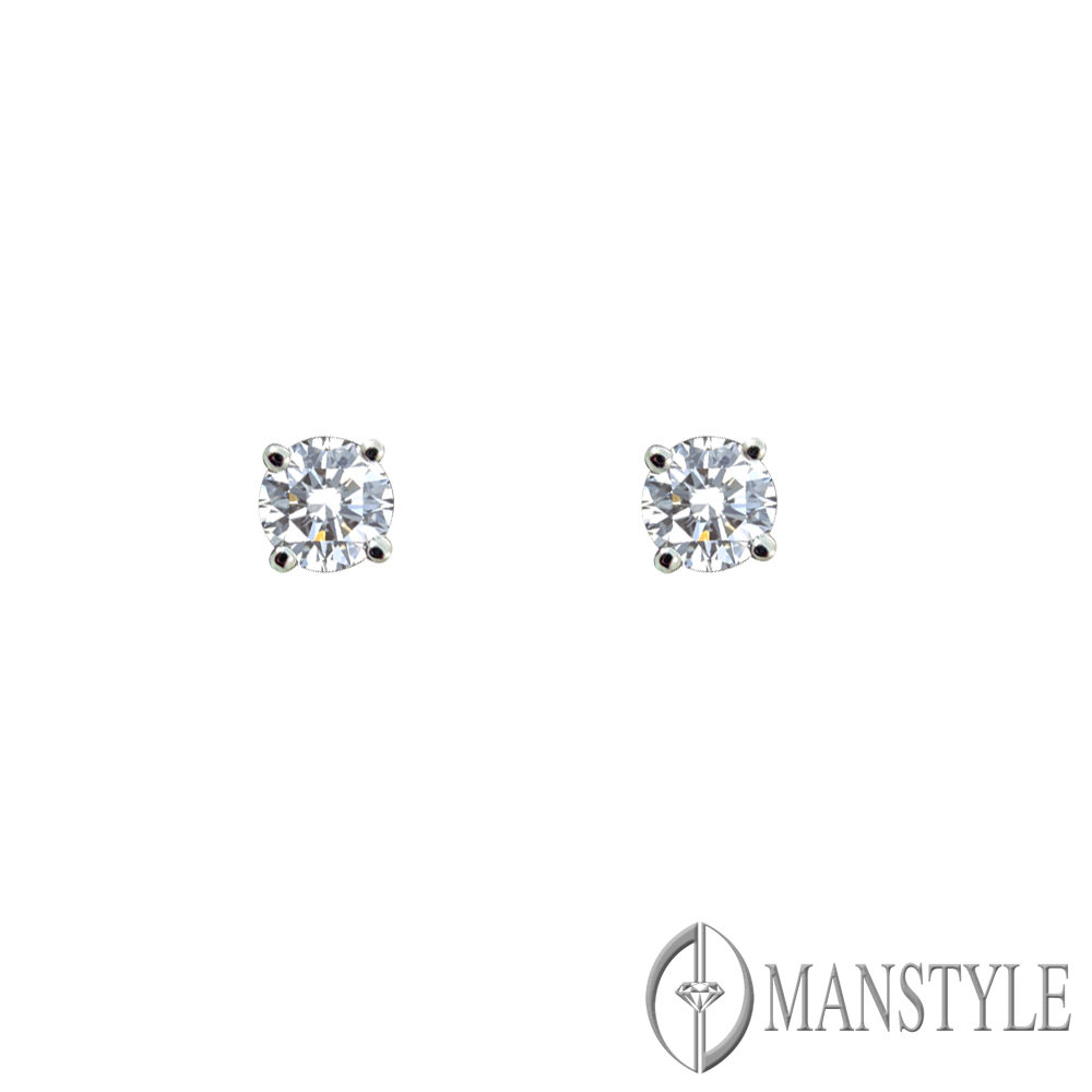 MANSTYLE 四方納福 0.10ct 鑽石耳環