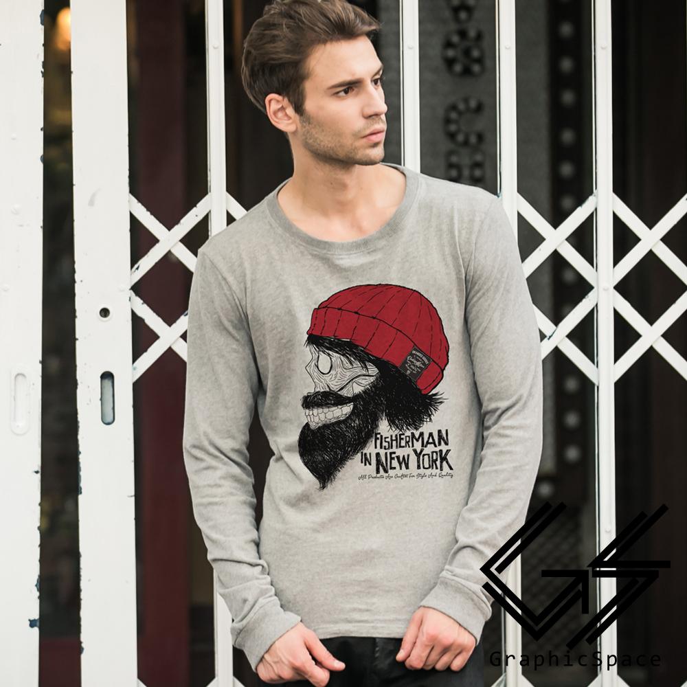 紅毛帽鬍子骷髏磨毛水洗長袖T恤 (共二色)-GraphicSpace