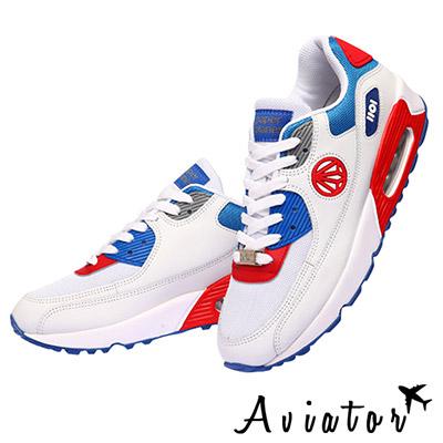 Aviator*韓國空運-韓國品牌多色氣墊女運動鞋-藍紅