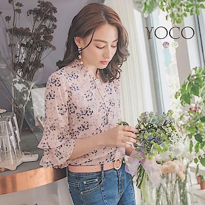 東京著衣-yoco 柔氛小碎花浪漫袖壓褶兩件式上衣-S.M.L(共二色)
