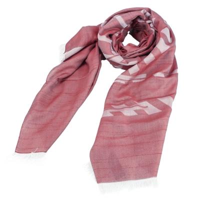 ARMANI COLLEZIONI 經典虛線大LOGO素面圍巾-紅色