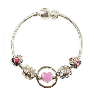 皇家遊樂園-串珠風格鏤空圓圈滾鑽手鍊手環-粉