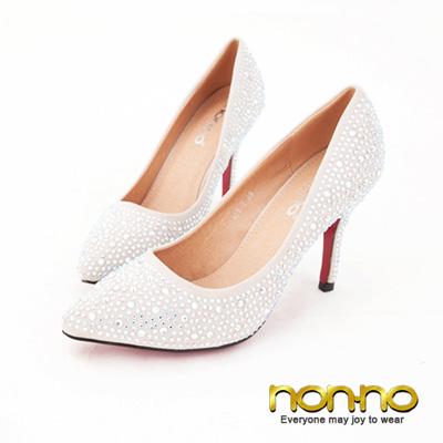 nonno-時尚華麗風-小尖頭水鑽紅底高跟鞋-米