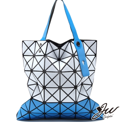 JW魔幻漆皮橫式雙色幾何拼貼包-白配藍-快