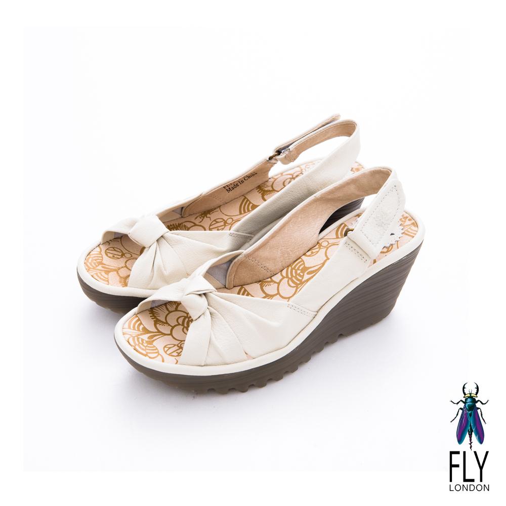 Fly London(女)★ 仙度芮拉 扭結魚口後空楔型涼鞋 - 紗裙白