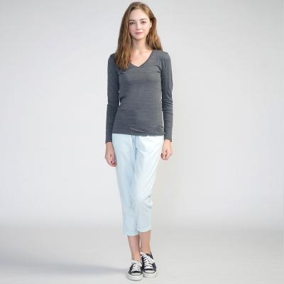 GIORDANO-女裝棉質素面抽繩七分褲-03淺藍