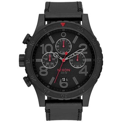 NIXON 48-20 CHRONO 潮流重擊運動皮帶錶-黑x紅針x菱格紋/48mm