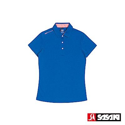 SASAKI 抗紫外線速乾吸排功能休閒POLO短衫-女-雷霆藍/豔桔