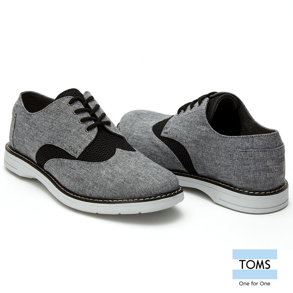 TOMS撞色網布牛津鞋-男款灰