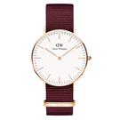 Daniel Wellington ROSELYN時尚女錶-玫瑰金框x紅色錶帶/36mm