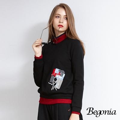 Begonia 造型毛巾貼布彈性棉上衣(共三色)