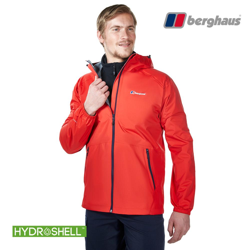 【Berghaus貝豪斯】男款HS輕量防水透氣連帽外套H22MV1火山紅