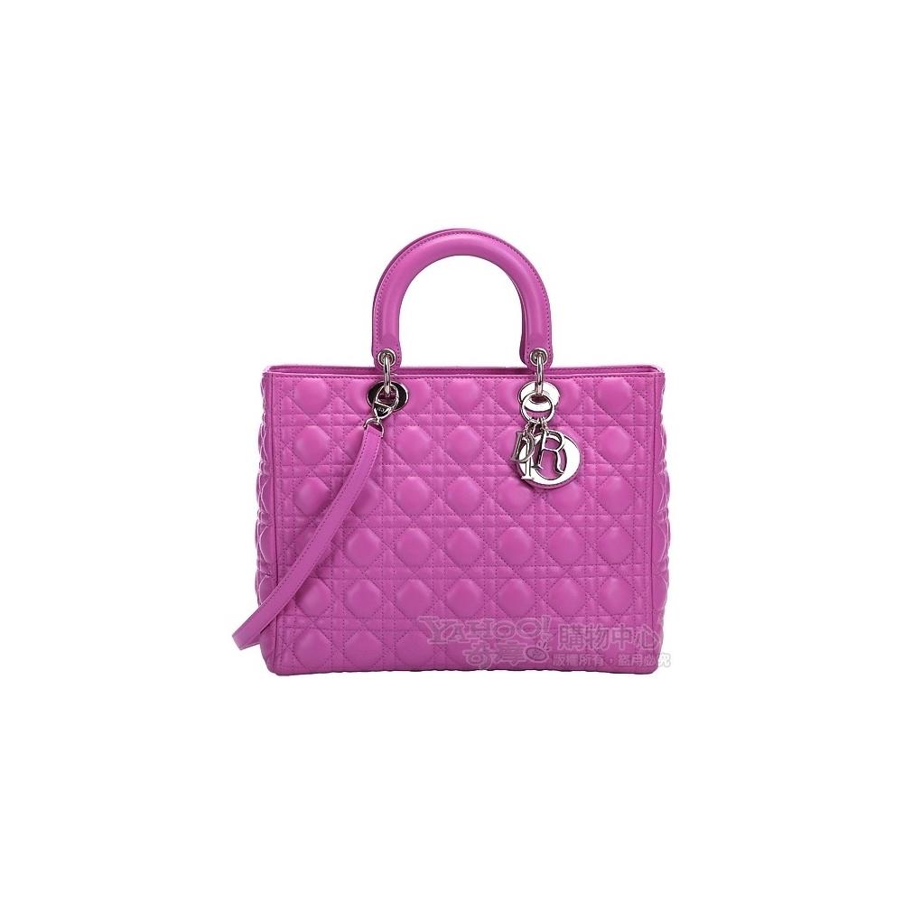Dior Lady Dior 小羊皮兩用手提黛妃包-大(粉紫色)